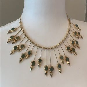 Bcbg gold and jade colored necklace